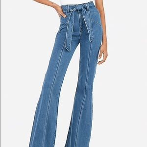 Express High Waisted Flare Jeans with Belt Tie